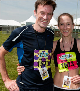 Neville Davey and Heather Tanner, winner of the Preakness 5K