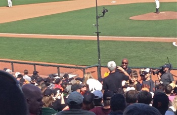 John Yandle and Barry Bonds at San Francisco Giants game
