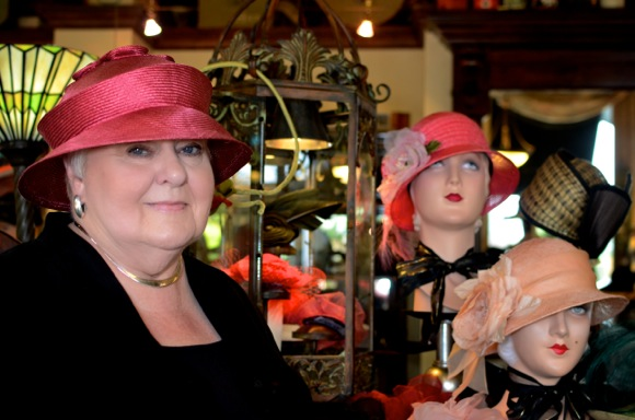 Carolyn Busch, owner of Fino Fino in Menlo Park, wearing one of her handmade hats