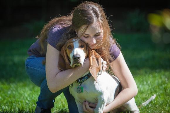 Charlotte with her Basset Hound Eli