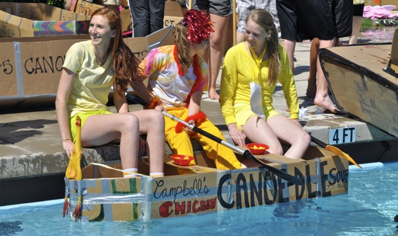 Chicken Canoe-odle at Sacred Heart Prep canoe races