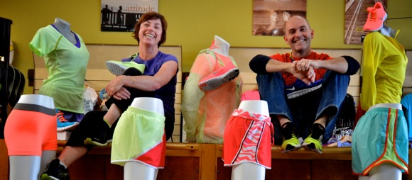 Lisa Taggert and Jim Gothers, owners of Fleet Feet in downtown Menlo Park