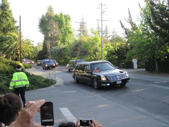 President Obama's motorcade in Atherton, CA