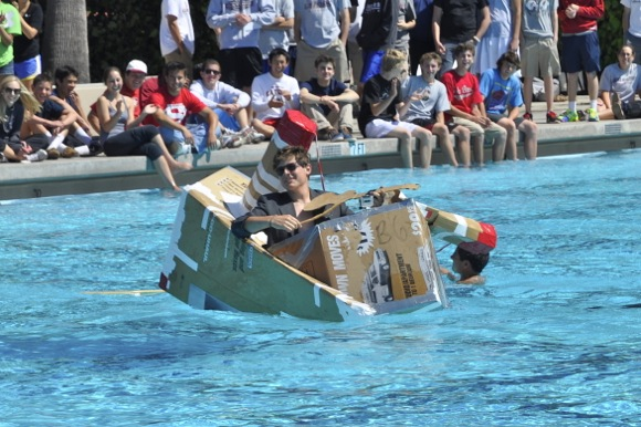sinking of the Titanic at Sacred Heart Prep canoe races