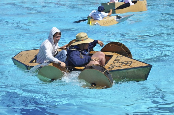 participant in Sacred Heart Prep school's canoe races
