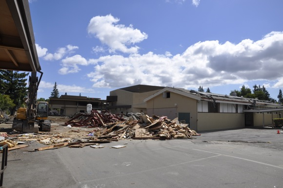 And the walls of Hillview School in Menlo Park came tumbling down