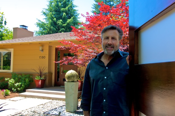 Keith Willig in front on Menlo Park front yard he landscaped