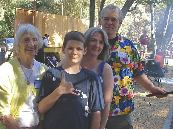 Three generations at Menlo Oaks neighborhood picnic