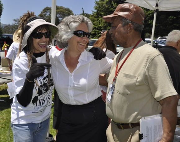 Michele Smith, Persis Drell and Al Baker of SLAC at Juneteenth event