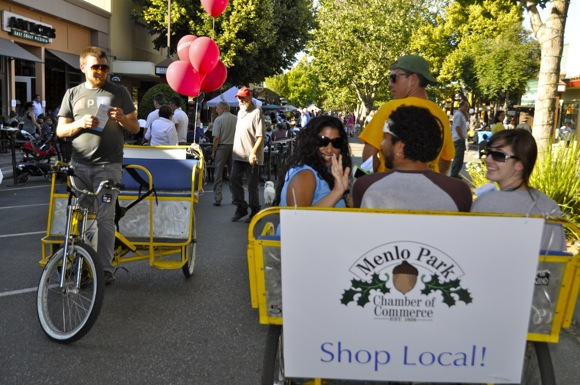 pedicabs at downtown Menlo Park block party