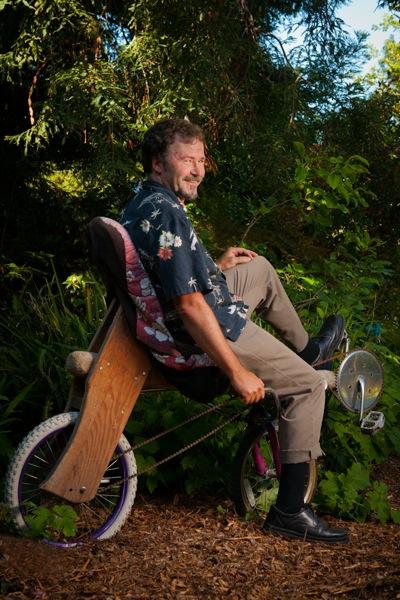 Menlo Park resident Tom Kabat who makes wooden bikes