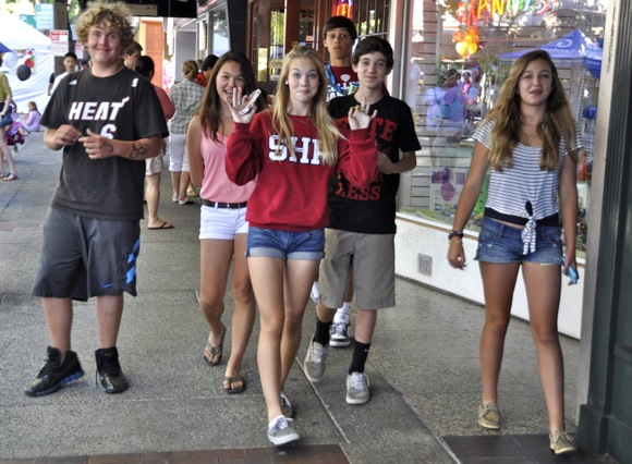 teens at downtown Menlo Park block party