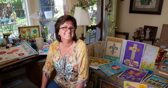 Artist Annie LaPoint in her Atherton home