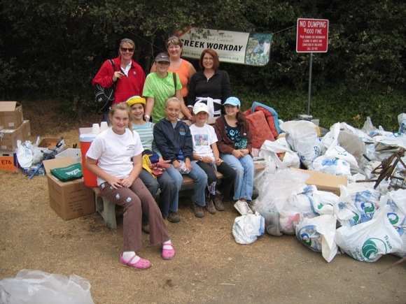 Coastal Clean Up group in Menlo Park in 2012