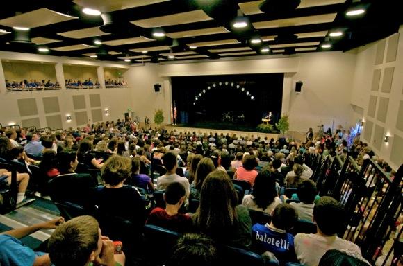 Inside new Hillview School auditorium