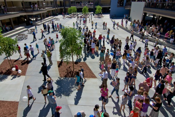 people attend opening of new Hillview School