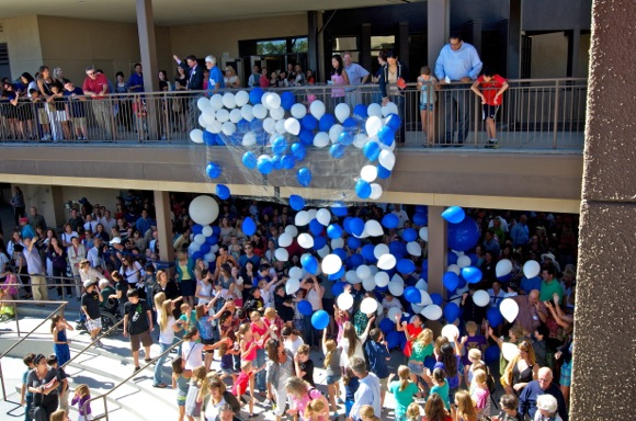balloons celebrate the opening of the new Hillview School
