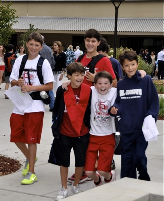 students check out new Sacred Heart Schools middle and lower school campus
