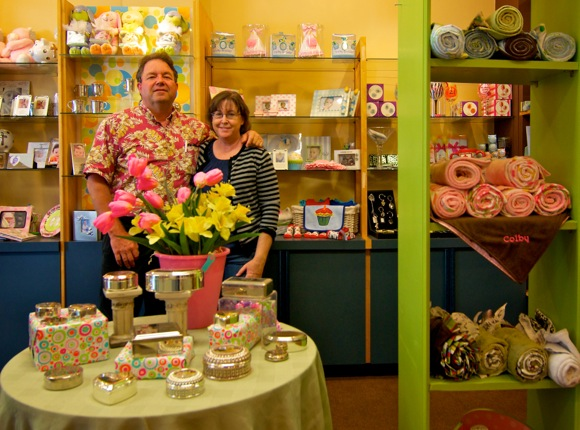 Colin and Carrie Jenkins in their Menlo Park store, Occasions