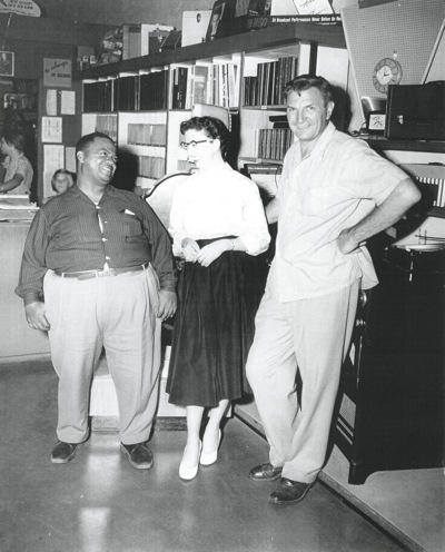 Joe Prein (right) at his music store in downtown Menlo Park