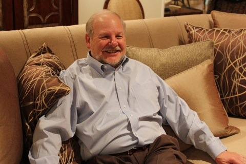 "Then and now: John Flegel ""on the couch"" at Flegel's furniture store in Menlo Park"
