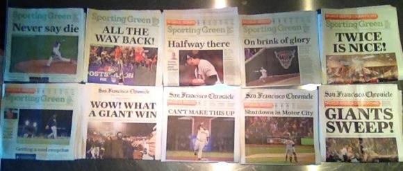 "Headlines say ""Congrats, San Francisco Giants!"""