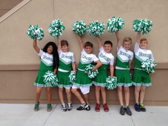 Encinal boys dress up as cheerleaders on Halloween
