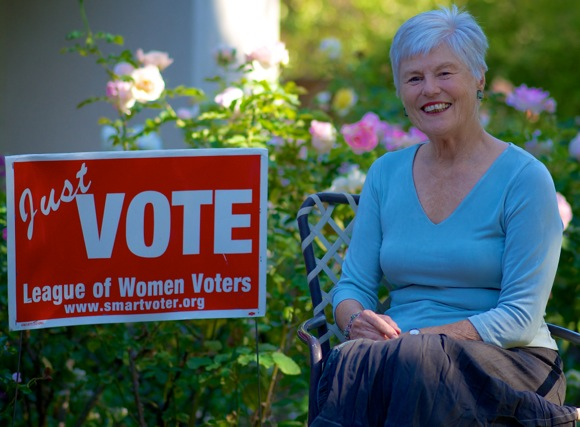 "Long time League of Women Voters member Kathleen Weisenberg urges people to ""vote smart"""
