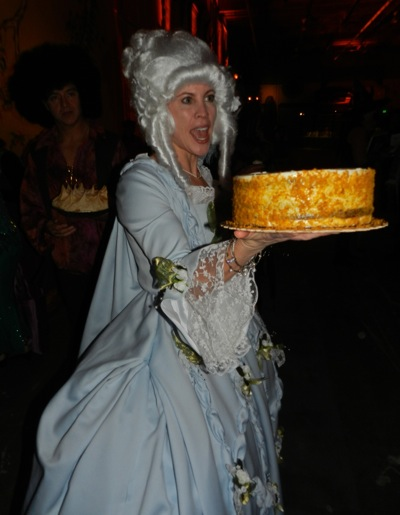 costumed Marie Antoinette at TheatreWorks fundraiser