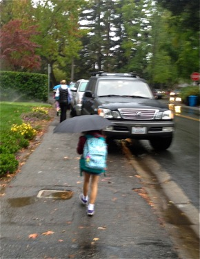 rain drops greeted kids walking to school in Menlo Park