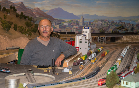 Rich Melconian at the West Bay Model Railroad Association's Menlo Park Layout