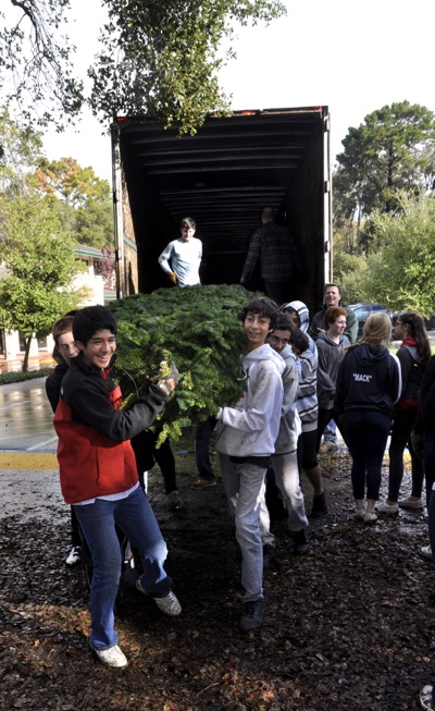 Christmas trees are unloaded at Nativity School lot