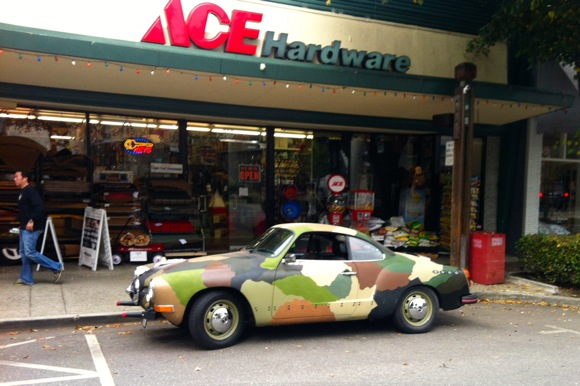 camouflage car in downtown Menlo Park