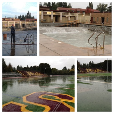 Menlo Park – and M-A's football field – recovers from the deluge of today's storm