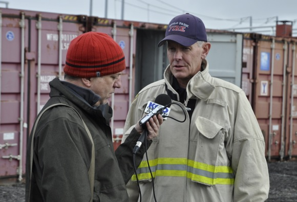 Menlo Park Fire Chief Harold Schapelhouman taking to KGO news