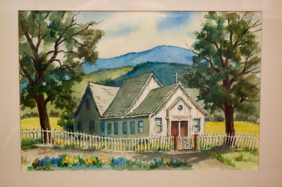 painting of original St. Denis Church in Menlo Park by Rachel Bentley