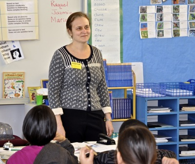 As docent at Willow Oaks School, Andrea Palmer introduces kids to symphonic music