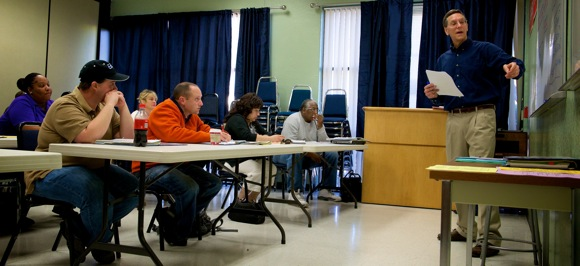 Russell Pyne teaches JobTrain class