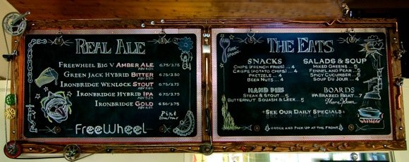 Chalkboard menu at Freewheel Brewery