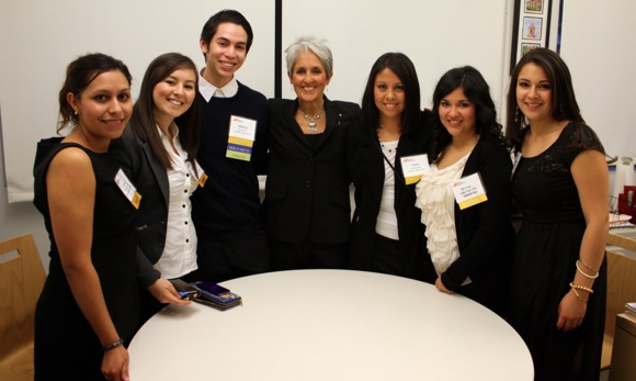 Singer Joan Baez with Peninsula College Fund scholars