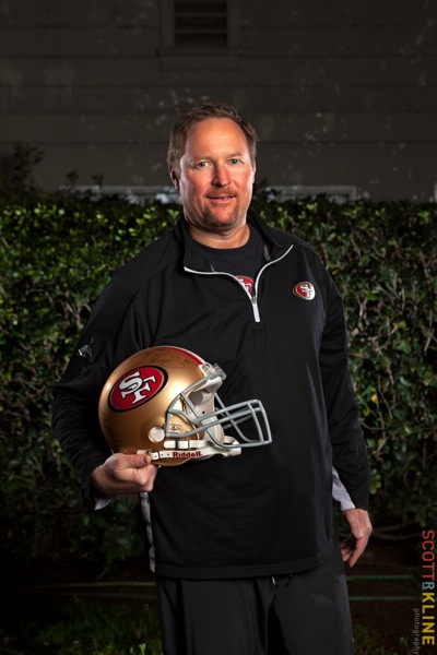 49ers Offensive line coach Tim Drevno photographed by Scott R. Kline