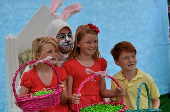 kids visit Easter bunny at Burgess Park in Menlo Park