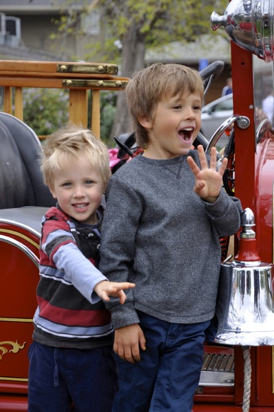 In Menlo Park, the Easter Bunny arrives on a fire truck – none other than Old Tom