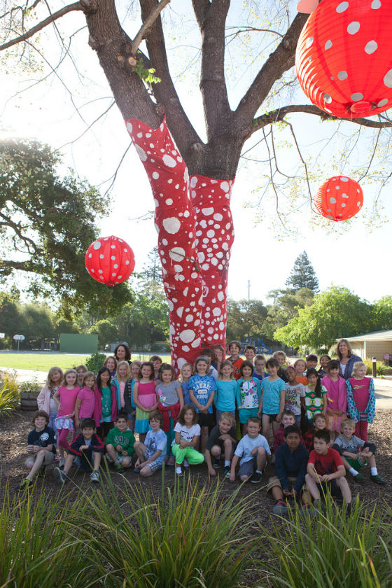 Laurel students create outdoor art with polka dots, paint, and inspiration from local artist Dana Shields