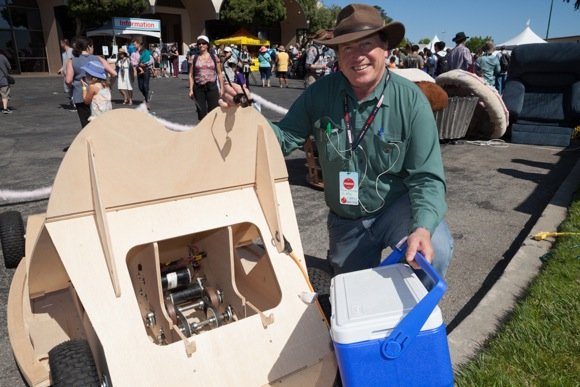 Chris Tackland displays his Playa Bumper Car at 2013 Maker Faire