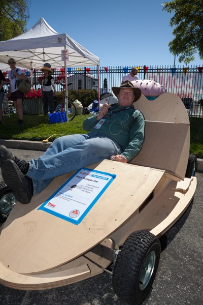 Chris Tackland displays his Playa Bumper Car at 2013 Maker Faire