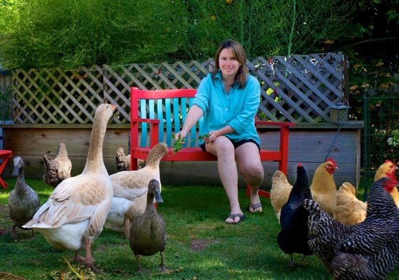 Gywn Murray and some inhabitants of her backyard barnyard