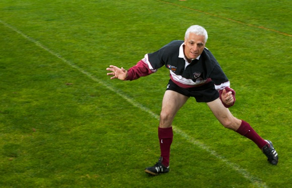 Iain Watson dons his rugby uniform for competition this weekend at the Bay Area Senior Games