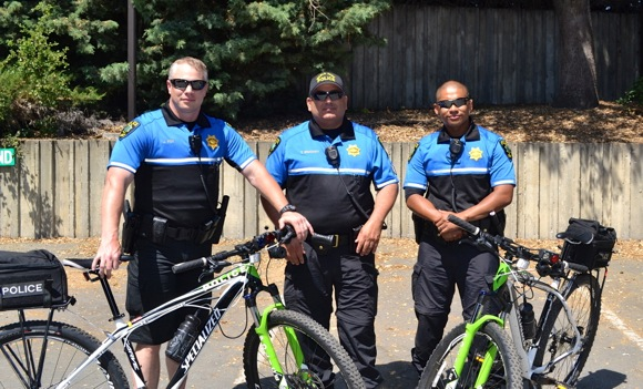 Menlo Park police patrolling on bicycles