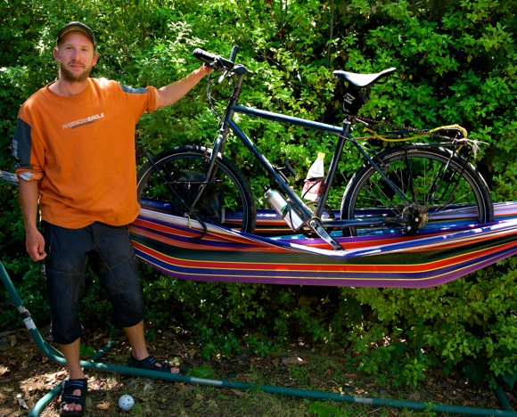 round the world cyclist Stephen Fabes photographed in his cousin's Menlo Park backyard
